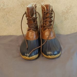 JBU Brown And Blue Rubber Boot w/faux Fur Lining